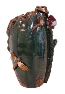 """Lotus Leaf Dragon Fly Sculptured Vase 15""""H"""