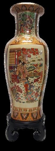 """Japanese Vase in 37"""" h Satsuma Style"""