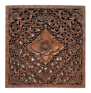 "Burmese Teak  Panel Carved Lotus Design 24"" H"