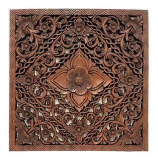 "Burmese Teak  Panel Carved Lotus Design 24"" H"