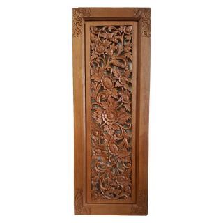 Burmese Teak Carved Wooden Panel