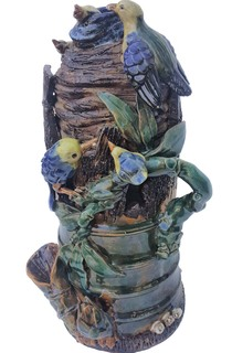 "Asian Sculpted Vase in Bamboo and Bird Nest 13""H"
