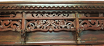 Carved Lattice and Floral Red Chinese Antique Wedding Chest