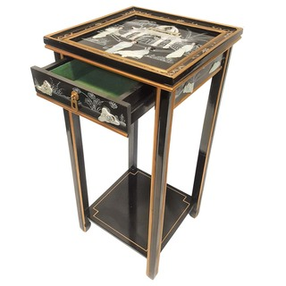 Black Oriental Stand  Mother of Pearl with Drawer, Shelf and Glass Top