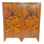 Chinese Imperial Yellow Ming Landscape cabinets