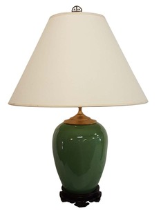 "Jade Ceramic  Table Lamp 15"" High Tri Light."
