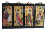 "Gold Leaf Geisha Wall Plaque Hand Painting  16""H"