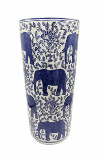 "Umbrella Stand Blue and White Elephant Porcelain 18"" High"