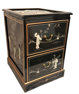 Lacquer File Cabinet Inlaid Mother Of Pearl For Home Office