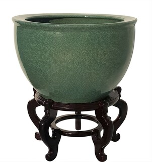 Emerald Chinese Celadon Crackle Fishbowl Planter 22""