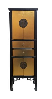 "58"" High Asian Gold Leaf with Black Lacquer Cabinet"