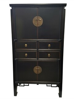 "Modern Cabinet with a Chinese Ming Design In Black and 59""H"