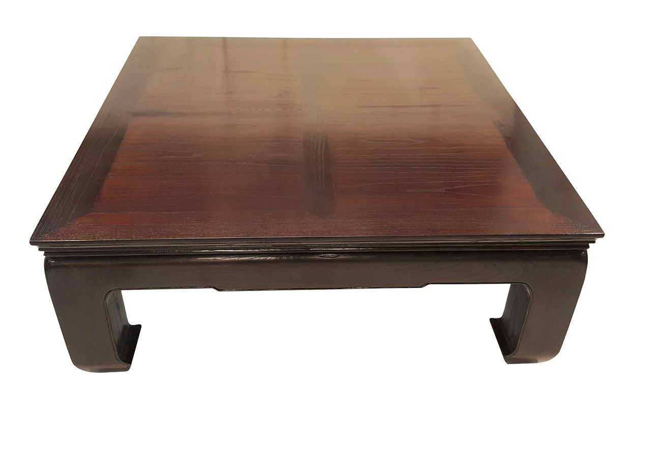 Coffee Table in Chinese Elm with Ming horse hoof Legs - Oriental Furnishings: Furniture & Decor