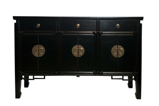 Asian Six Door Buffet with Key Carving in Black Lacquer