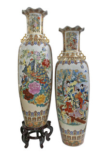 Large Fluted Vase in Chinese Floral Design