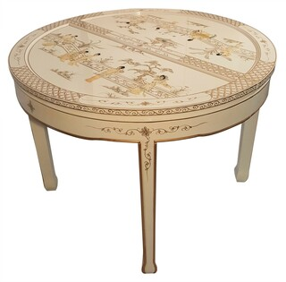 "44"" Round Chinese Dining Table with Mother of Pearl Opens to 62"""