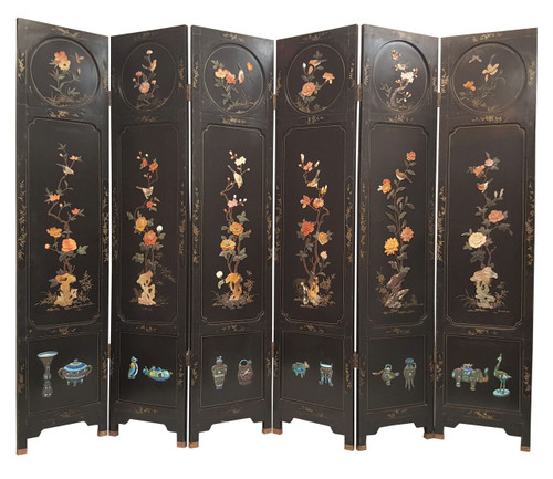"Chinese Screen Inlaid Stone Flowers  6 Panel 72"" H"