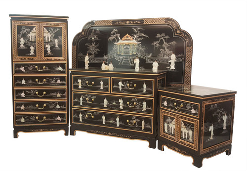 Black Chinese Bedroom Set Four Piece with Queen Headboard