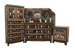 Black Chinese Bed Room Set  4PC with  Queen Headboard