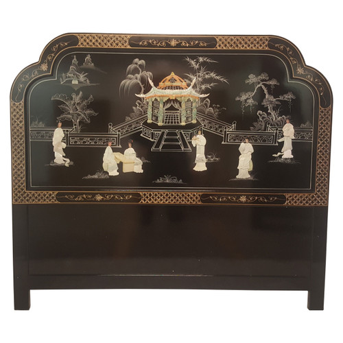 King Mother Of Pearl Headboard By The Yard: Chinese Headboards In Black Lacquer With Mother Of Pearl