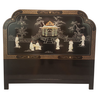 Black Lacquer Headboard Inlaid With Mother Of Pearl