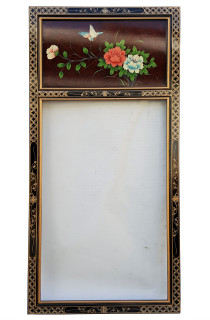 Red Lacquer Painted Mirror with Bird and Flower Panel