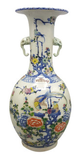 Chinese Porcelain Vase 2-Elephant Handle Carved Top