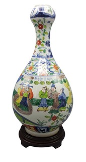 Chinese Vase Garlic Shaped Famile Vert