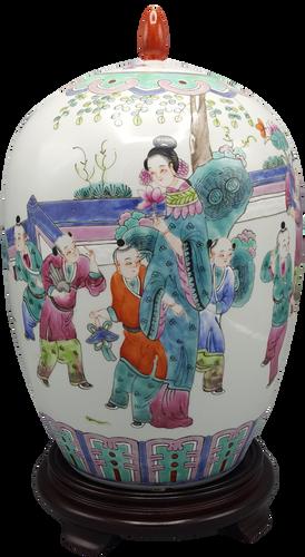 Famille Vert 1000 Children Playing  Chinese Porcelain Melon Jar