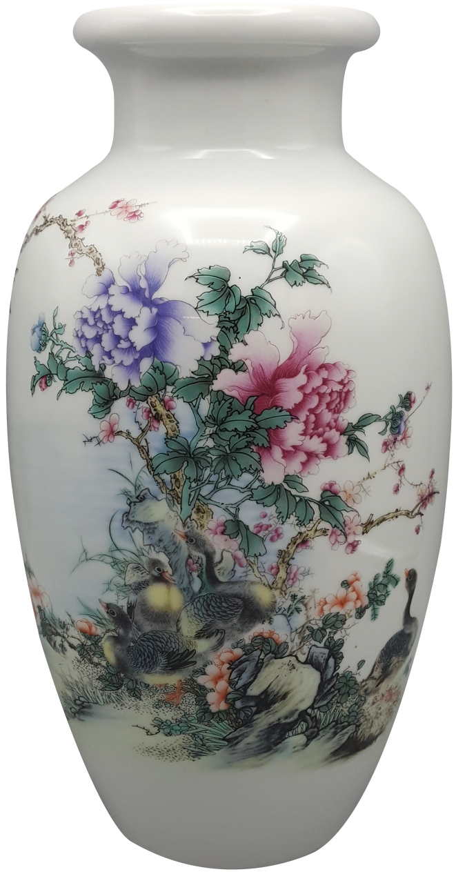 round top chinese porcelain painted landscape vase