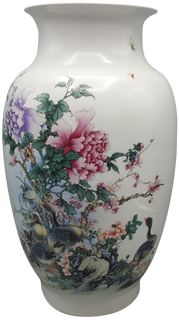 Chinese Fishtail Famille vert White Porcelain Vase