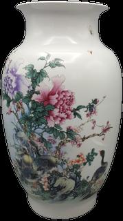 Chinese Fishtail Famille vert White Porcelain Vase