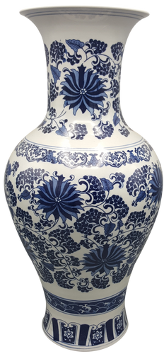 Long Neck Blue and White Daisy Chinese Porcelain Vase