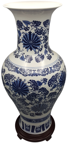 Blue and white porcelain daisy painted vase