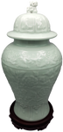 carved Celadon glazed porcelain vase with Lid