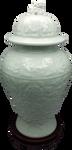 carved Celadon glazed porcelain vase with Lid