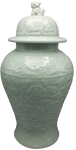 Floral pattern carved porcelain vase
