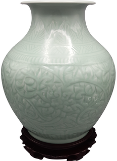 Chinese wide mouth porcelain vase  celadon glaze