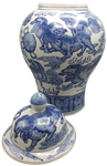 Blue and white Chinese porcelain jar with lid