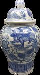 "24"" Blue and White Porcelain Temple Jar"