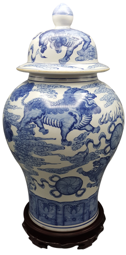 Blue and White Temple Jar with Lions and Jewels