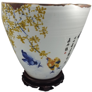 Chinese Table Bowl in Porcelain with Modern Plum Blossom