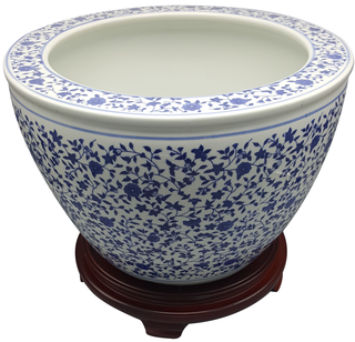 Chinese Blue and White Fishbowl Planter Floral Vines