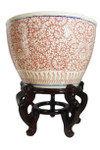 Chinese porcelain fishbowl red and white