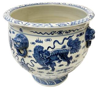 Chinese Blue and White Fu Dog Porcelain Planter with Carved Lion Handle