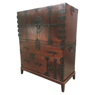 Japanese Style Elmwood Tansu Chest Dark