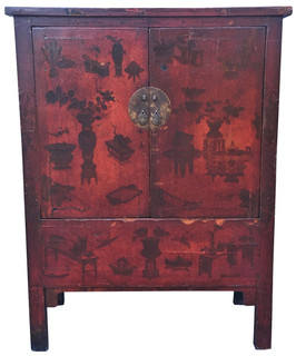 2 Doors Chinese wooden armoire chest