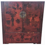 Hand painted Chinese Elmwood Antique Cabinet