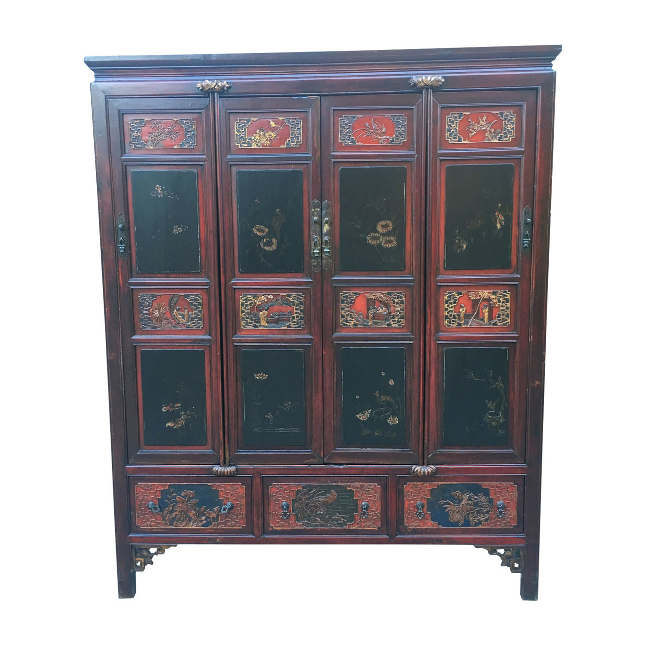 Hand Painted Antique Chinese Armoire