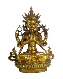 Large Bronze Buddha Statue Praying Hands